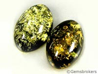 Green amber cabochons